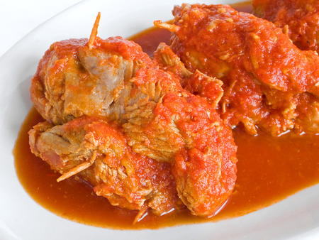 sauce dish: Meat roulade in tomato sauce on white dish.