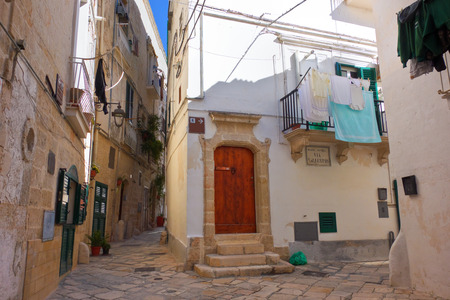 puglia: Alleyway. Monopoli. Puglia. Italy. Stock Photo