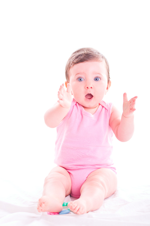 clap: Baby girl clap her hands. Stock Photo