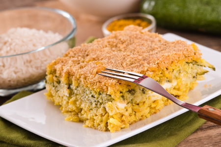 Rice timbale with zucchini.