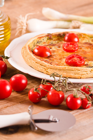 Leek and tomato quiche.