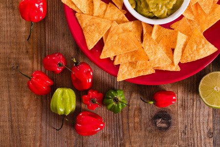 Guacamole and nacho chips. Stock Photo