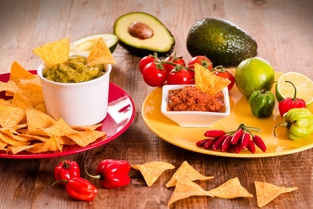 tex mex: Guacamole and nacho chips.