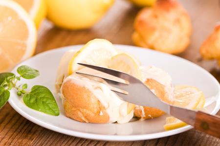 chantilly: Lemon Profiteroles. Stock Photo