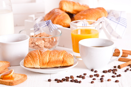 Breakfast with croissant.
