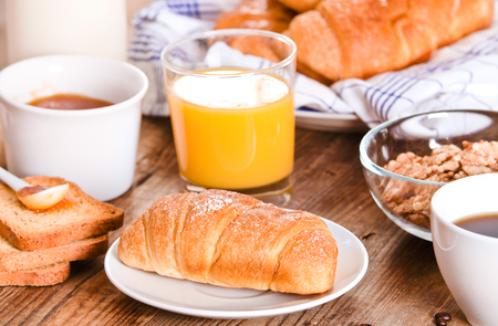 Breakfast with croissants.  Stock Photo