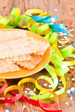 chiacchiere: Carnival pastry.  Stock Photo