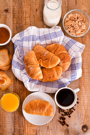 Breakfast with croissants.