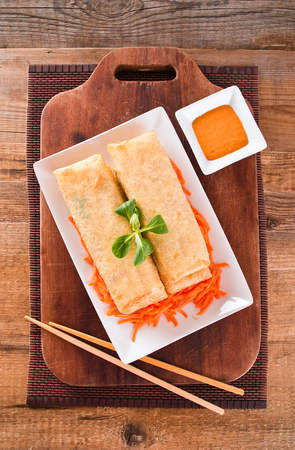 nourishing: Vegetable spring rolls.