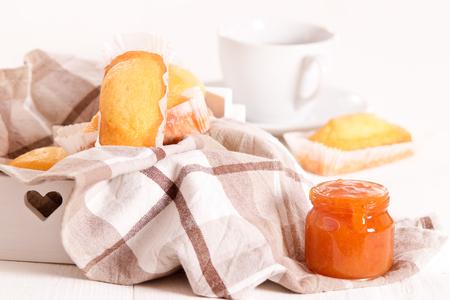 Breakfast with plumcake. Stock Photo