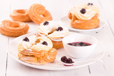 Zeppole with pastry cream.  Stock Photo