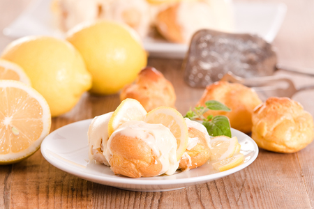 Lemon Profiteroles. Stock Photo