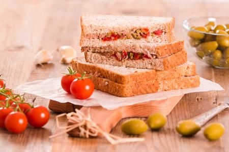 savory: Tuna, olives and tomato sandwiches. Stock Photo