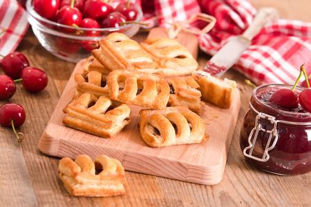 Cherry pastry pies. Stock Photo
