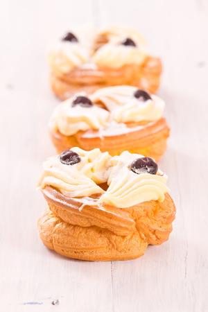 Zeppole with pastry cream.