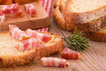 Bread and bacon. Stock Photo