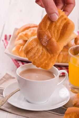 Breakfast with brioches.  Imagens