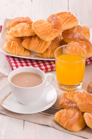 Breakfast with brioches.  Stock Photo