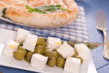 Greek spinach pie.  Stock fotó