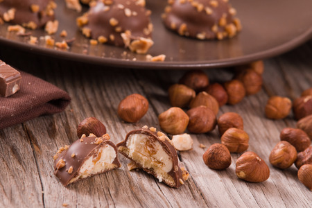 Chocolate truffles with caramel cream filling.