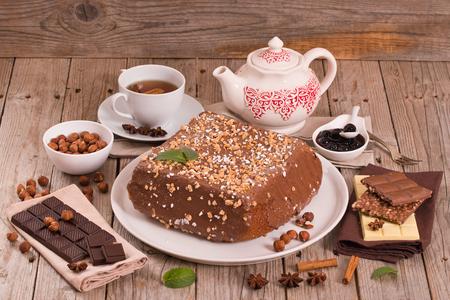 Chocolate hazelnut cake.  Stok Fotoğraf