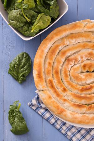 Greek spinach pie.  스톡 콘텐츠