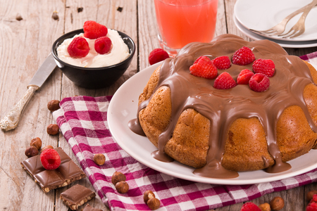 Chocolate cake with raspberries. Imagens