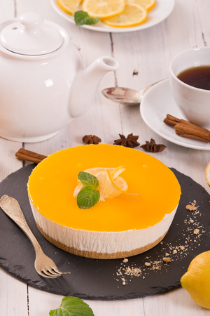 Lemon cheesecake. Stock fotó
