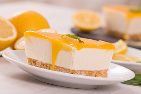 Lemon cheesecake. Stockfoto