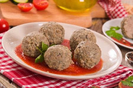 Meatballs with tomato sauce. Standard-Bild
