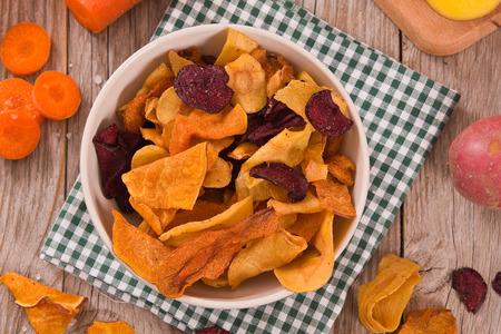 Mixed vegetable crisps. Stock Photo