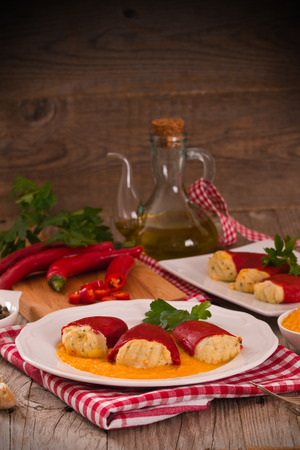 Stuffed piquillo peppers with cod. Banco de Imagens