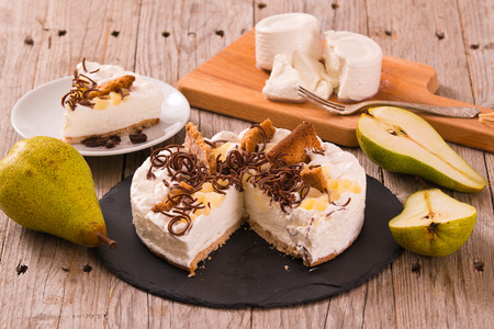 Ricotta and pear cheesecake.