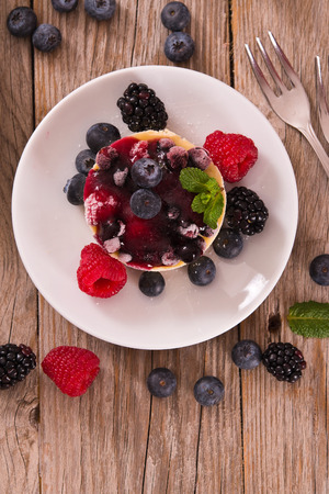 Cheesecakes with mixed berries.