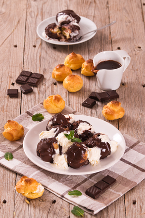 Chocolate profiteroles.