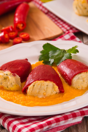 Stuffed piquillo peppers with cod. Stock fotó
