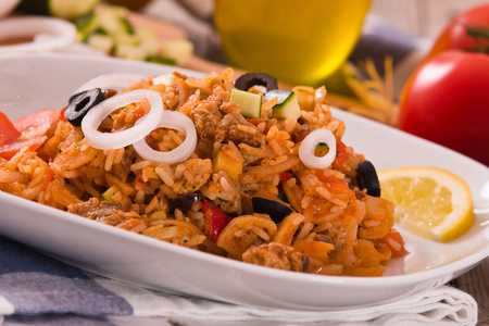 Gyros rice dish. Imagens