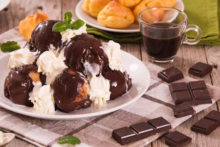 Chocolate profiteroles.