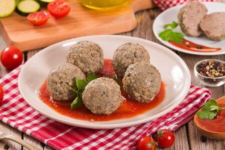 Meatballs with tomato sauce. Stok Fotoğraf