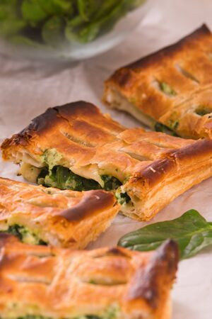 Pie with spinach and ricotta cheese. Stock Photo