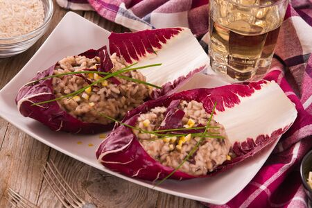 Risotto with red radicchio. Stockfoto
