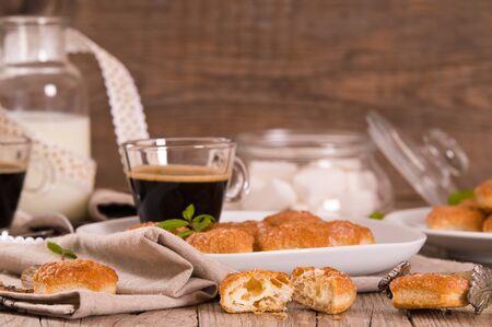 Puff pastries with custard cream. Stok Fotoğraf