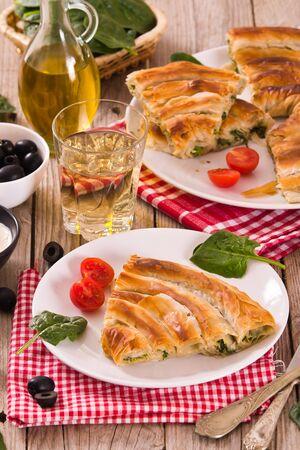 Spanakopita, greek spinach pie. Stock fotó
