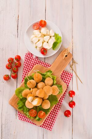 Fried Mozzarella cheese balls.