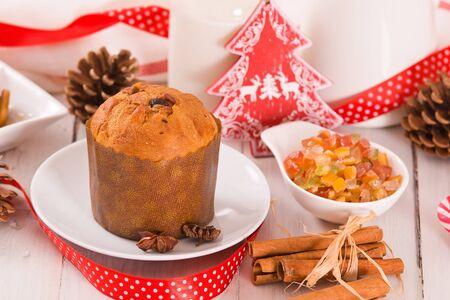 Panettone, italian christmas cake. Banco de Imagens
