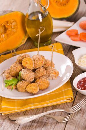Pumpkin chicken meatballs. Stock fotó