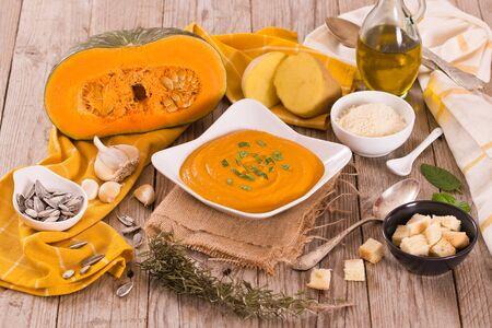 Pumpkin cream soup. Banco de Imagens
