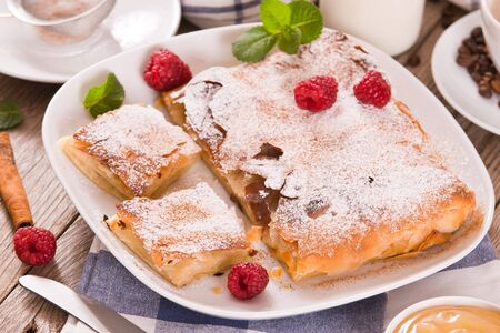 Bougatsa - Greek puff pastry with cream Stock fotó - 141007313