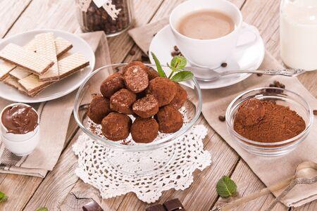 Chocolate truffles. 免版税图像
