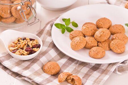 Amaretti cookies on the table. Archivio Fotografico